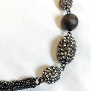 Asymmetrical black & silver beads 6 chain necklace